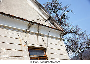 damage to the gable of an old building