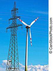 viento, turbina, viento, potencia, planta, electricidad