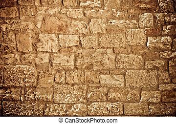 Limestone brick wall
