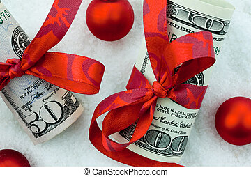 us dollars banknotes with ribbon as a cash gift for...