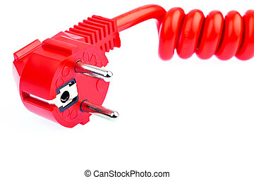 red power wire - a red power cable with a connector located...