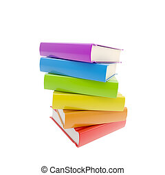 Pile of rainbow colored glossy books isolated - Education:...