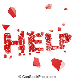 Broken help metaphor, smashed word explosion