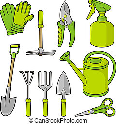 Gardening icons - A set of gardening tool icons isolated on...