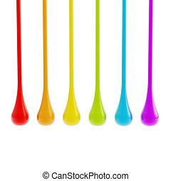 Rainbow colors oil paint glossy drops isolated on white