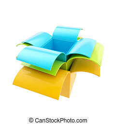 Stack of package parcel boxes isolated on white - Colorful...