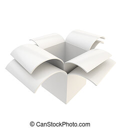 Glossy package parcel box isolated on white - White empty...