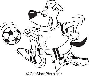 Dog Playing Soccer - Black and white illustration of a dog...