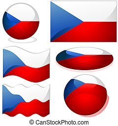 Czech republic Set - flags collection with glass effect