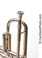 silver trumpet on a white background