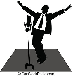 crooner on stage - jazz singer on stage with microphone