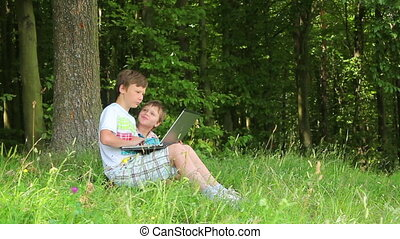 Boys in forest this notebook