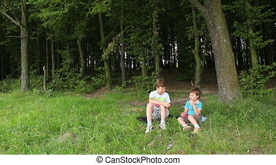 Boys in forest