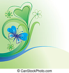 Nature background with butterfly