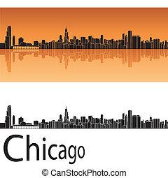 Chicag skyline in orange background