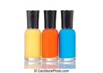 Colorful nail polish - three Colorful nail polish with...