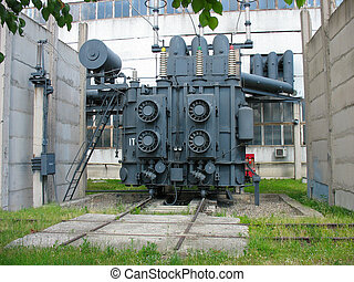 Huge industrial high-voltage substation power transformer at...