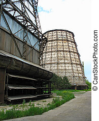 Water cooling tower at old power plant