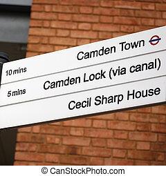 Direction sign of Camden Town, Camden Lock. The Camden...
