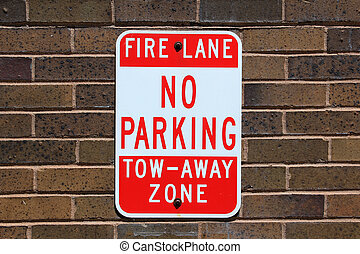 No parking sign - No parking, tow away sign posted on a...