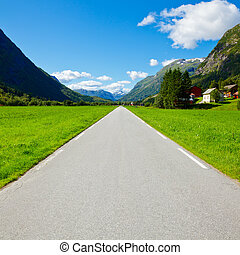 Straight and empty mountain road - Scenic one lane asphalt...
