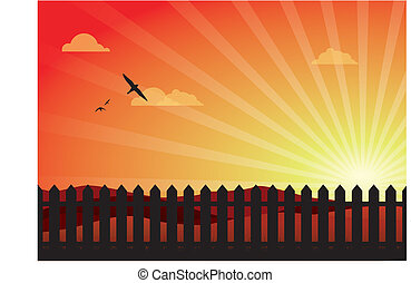 Lovely Sunset With Picket Fence