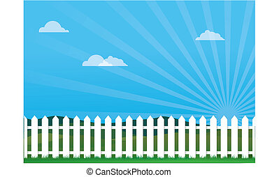 Nice Day With Picket Fence - a vector illustration of a...