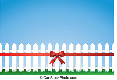 Bow Tied Picket fence - a fence with a bow tied ribbon...