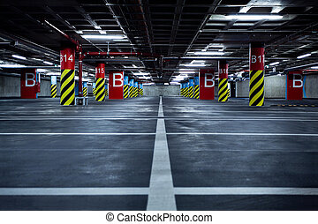 Parking garage underground - Empty parking garage,...