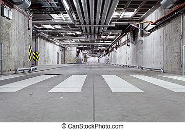 Concrete underground road - Parking garage, underground...