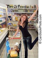 愉快, 婦女, 超級市場, 跳躍