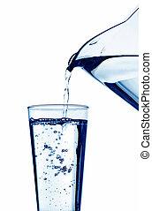agua, llenado, vidrio, agua