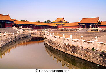 Canal in Forbidden City - Orange canal in Forbidden city,...