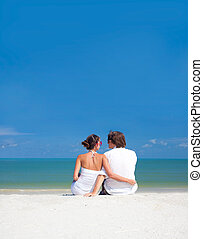 romantic lovers vacation on a tropical beach. honeymoon