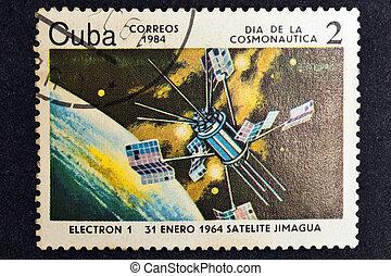 Satelite Jimagua - CUBA CIRCA 1984: stamp printed by CUBA,...
