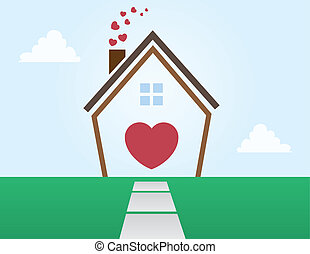 House Outline Love - House outline abstract with Hearts