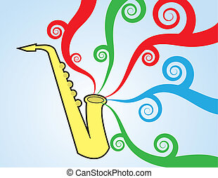 Saxophone Playing Colors - Saxophone playing with colorful...