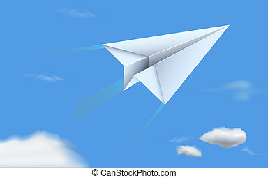 Paper Plane in Sky - illustration of paper plane flying in...