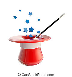Magician hat and magic wand with stars