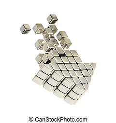 Technology cube arrow silver emblem icon