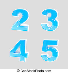 Abc set of four blue glossy plastic letters