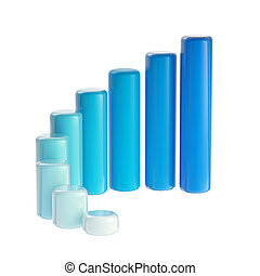 Blue graph bar dimensional, glossy, isolated