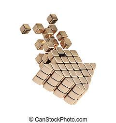 Technology cube arrow bronze emblem icon
