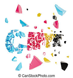 Broken cmyk, smashed word explosion