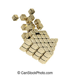 Technology cube arrow golden emblem icon