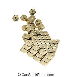Technology cube arrow golden emblem icon