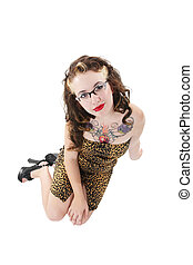 Quirky Girl Isolated - Girl with a quirky, fifties meets...