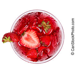 Strawberry cocktail from top view, isolated on white...