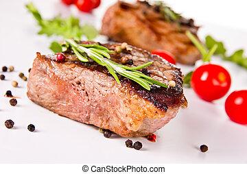 carne de vaca, filete, medio, asado parrilla, aislado,...