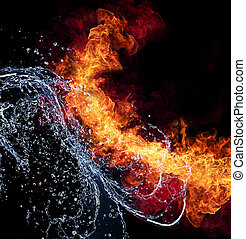 Fire and water - Water and fire connection, representation...